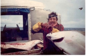 Halibut fishing off the Portlock Banks, 1987 off Kodiak Island, Alaska